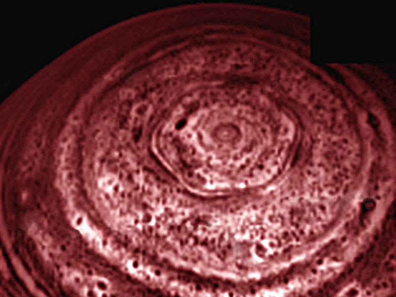 Saturn polar storm in infrared