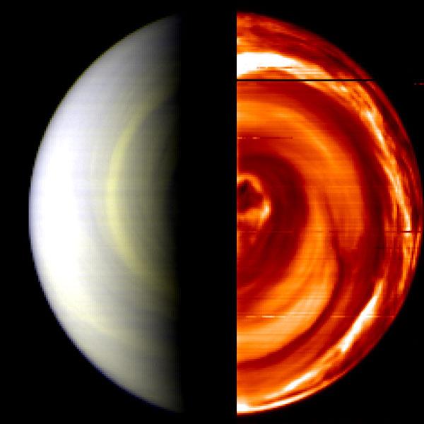 Remolinos de Nubes Sobre el Polo Sur de Venus