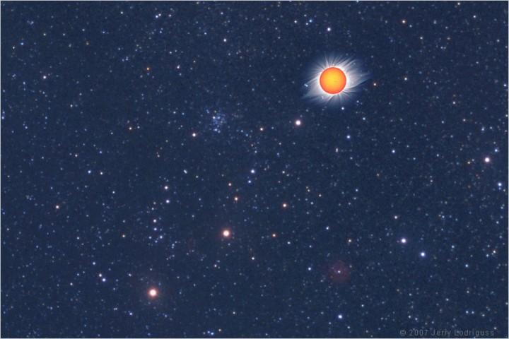 Las estrellas y el sol en solsticio