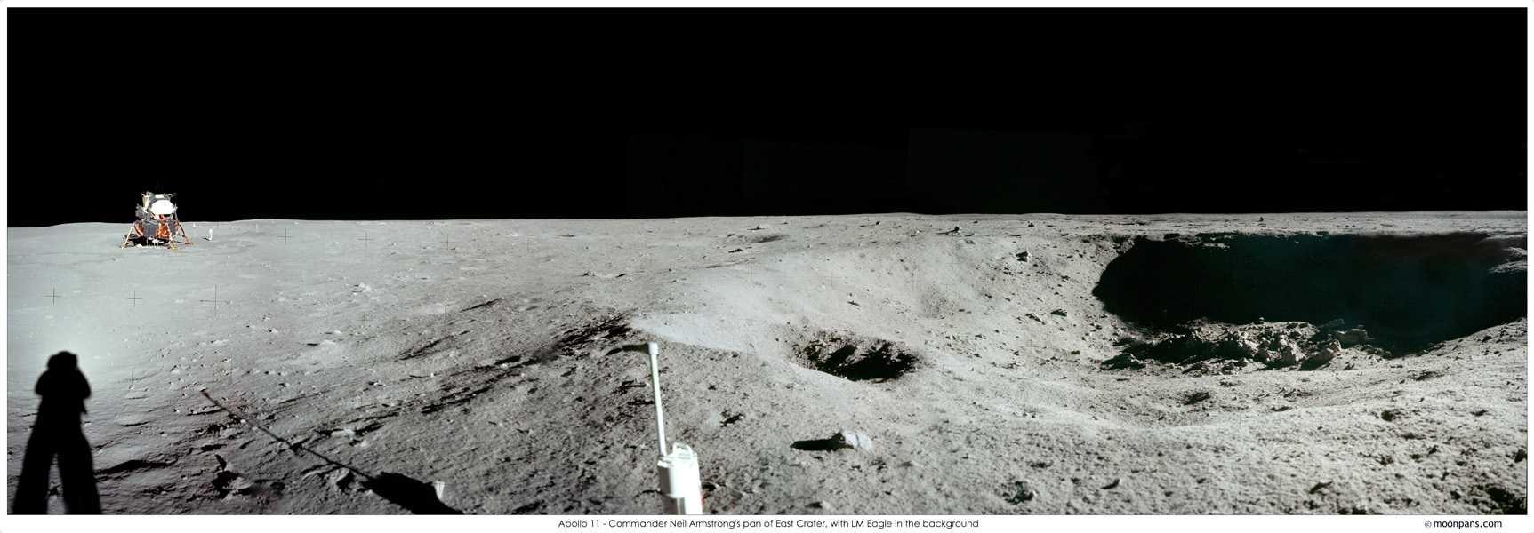APOD: 2007 July 20 - Apollo 11: East Crater Panorama