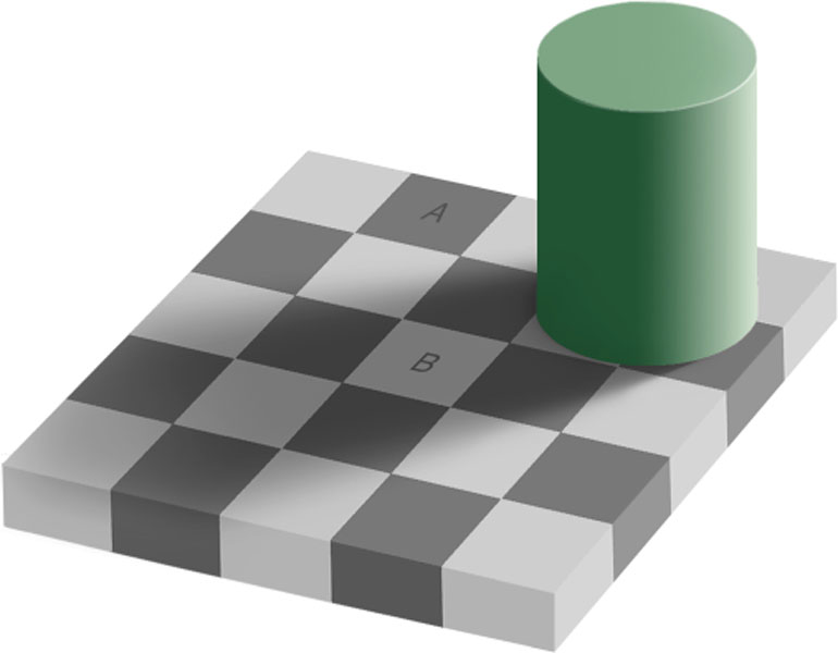 A powerful visual illusion showing a checkerboard pattern with a light square in shadow that's the same color as a unshadowed black square, though the eye refuses to believe it