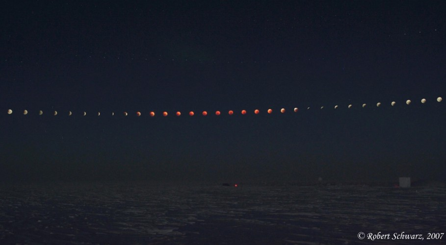 Lunar eclipse from south pole