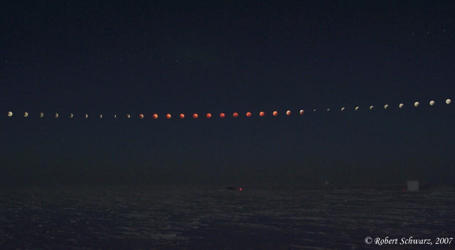 Eclipse lunar desde el Polo Sur