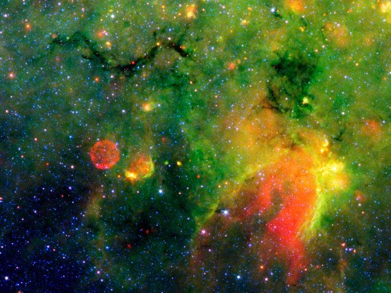 Una región galáctica de formación estelar en infrarrojo