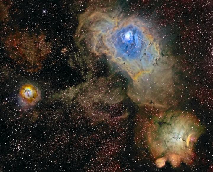 Tres nebulosas en banda estrecha