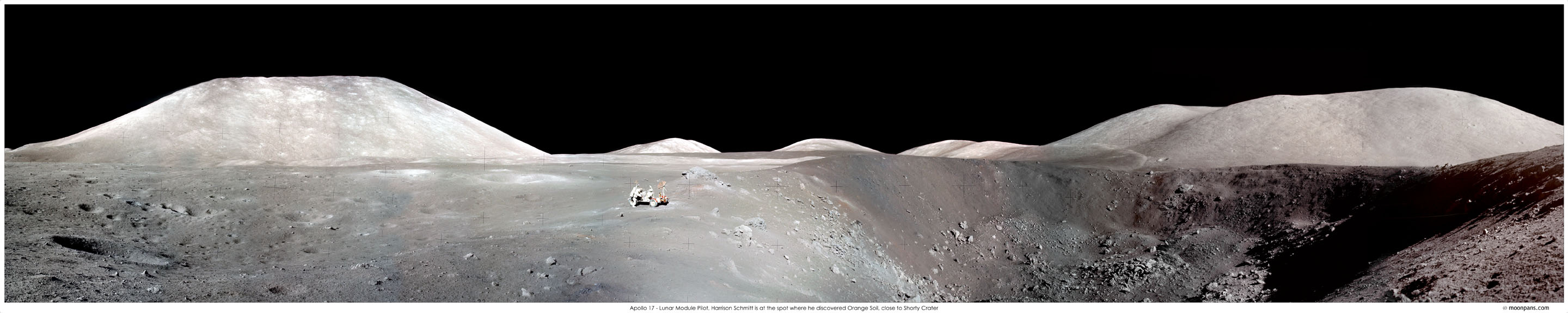 Apollo 17: Vista panorámica del cráter Shorty