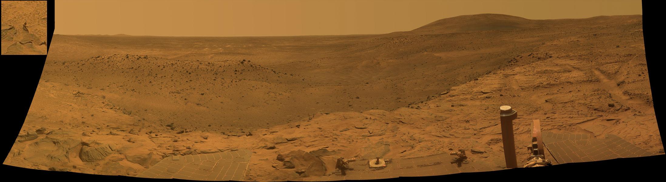 Panorámica del West Valley desde el rover Spirit en Marte