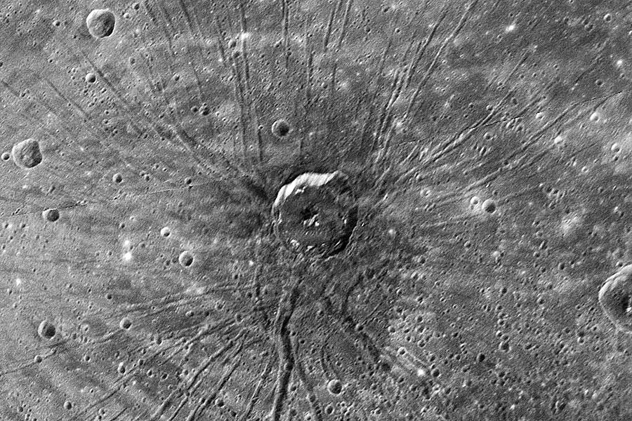 Un cráter con forma de araña en Mercurio