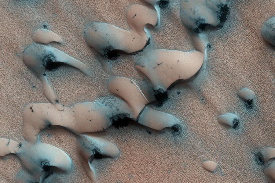 dunes polaires dégelant sur Mars