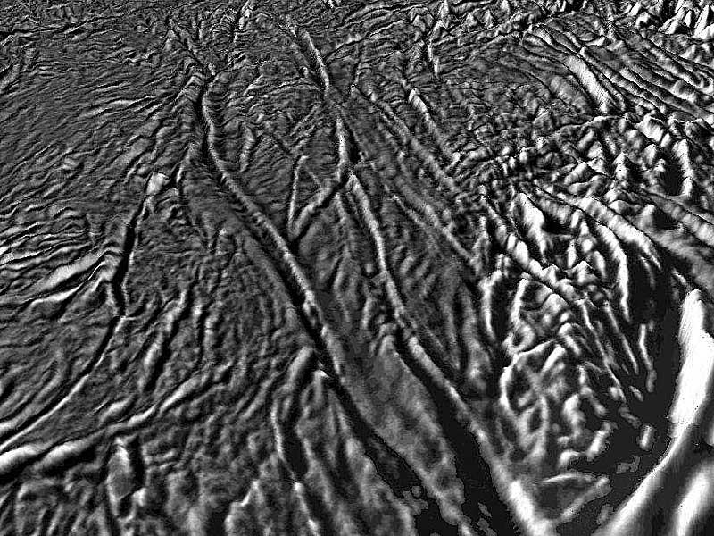 Detalle de las grietas en Encelado