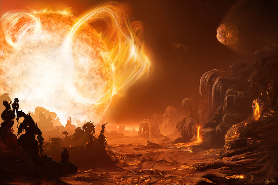 Una salida de Sol peligrosa en Gliese 876d