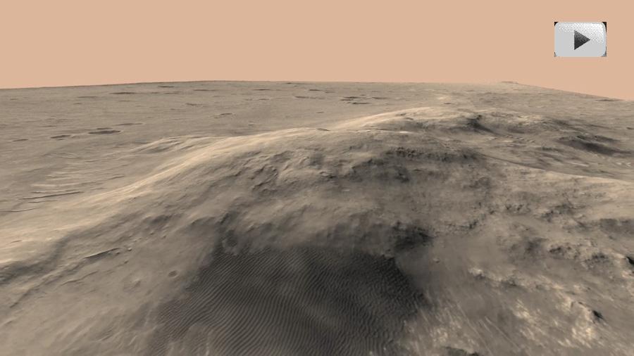 Volando sobre las Colinas Columbia de Marte