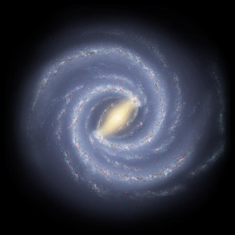 Una Vía Láctea espiral de dos brazos