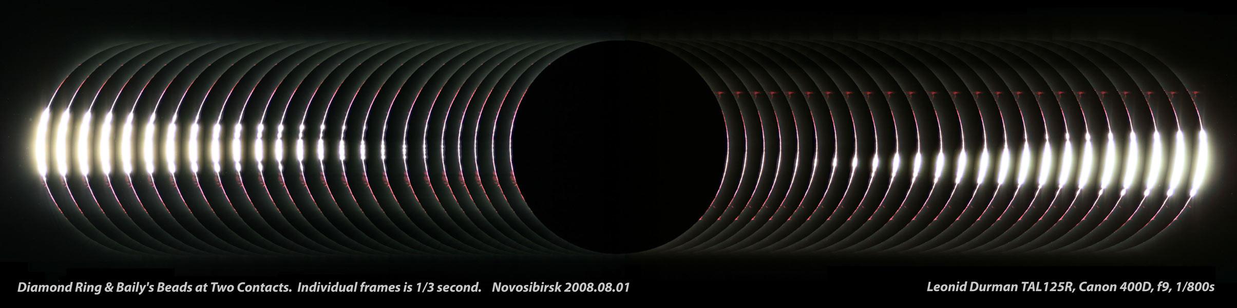 Las Perlas de Baily cerca de la totalidad del Eclipse Solar