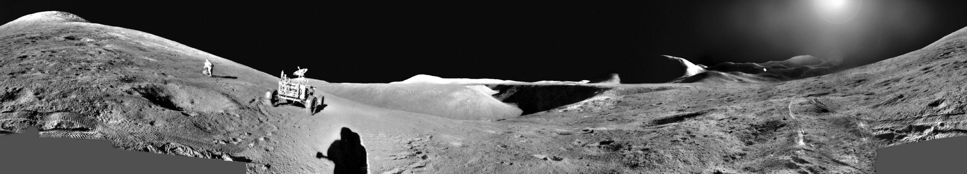 Una panorámica del Apollo 15: los astronautas explorando