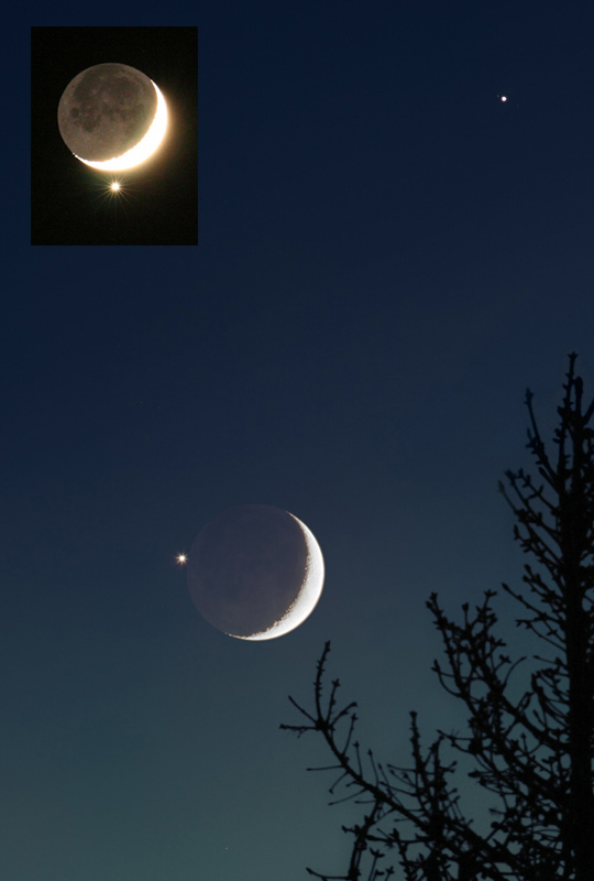Venus beside the moon, with Jupiter nearby, December 4th 2008 (NASA)