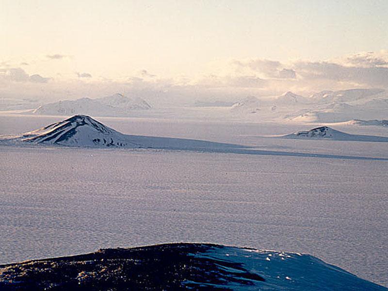 Vista a las placas de hielo de la Antártida