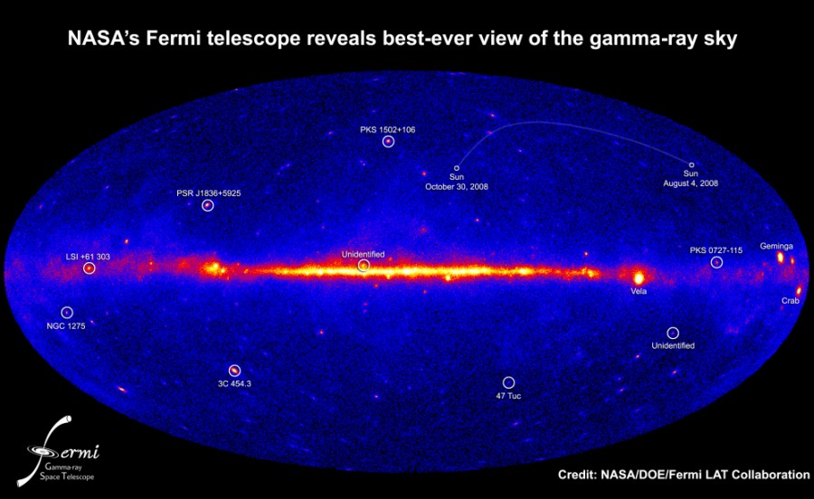 Fermi's view of the gamma-ray sky (NASA's Atronomy Picture of the Day - March 21, 2009)