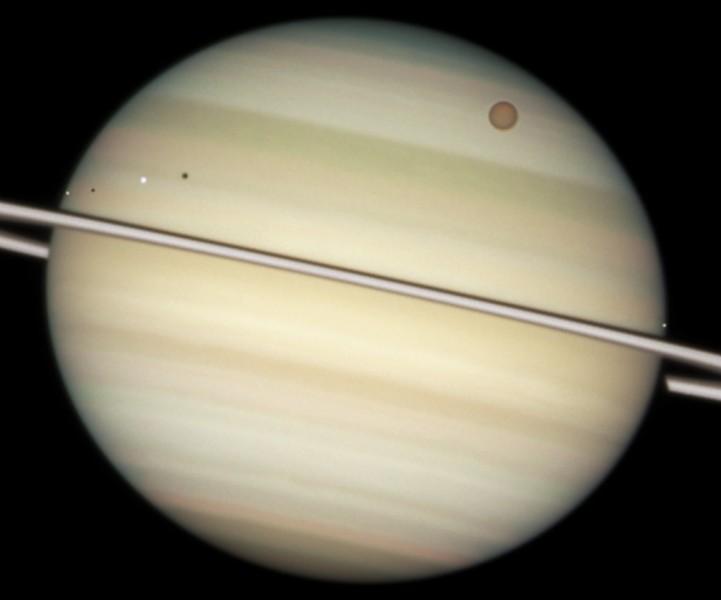 Saturno: lunas en tránsito