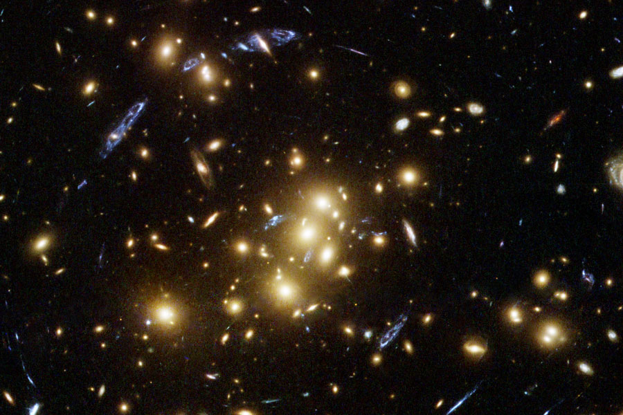 图片说明:星系的扭曲和断裂,版权:NASA, ESA, H. Lee & H. Ford