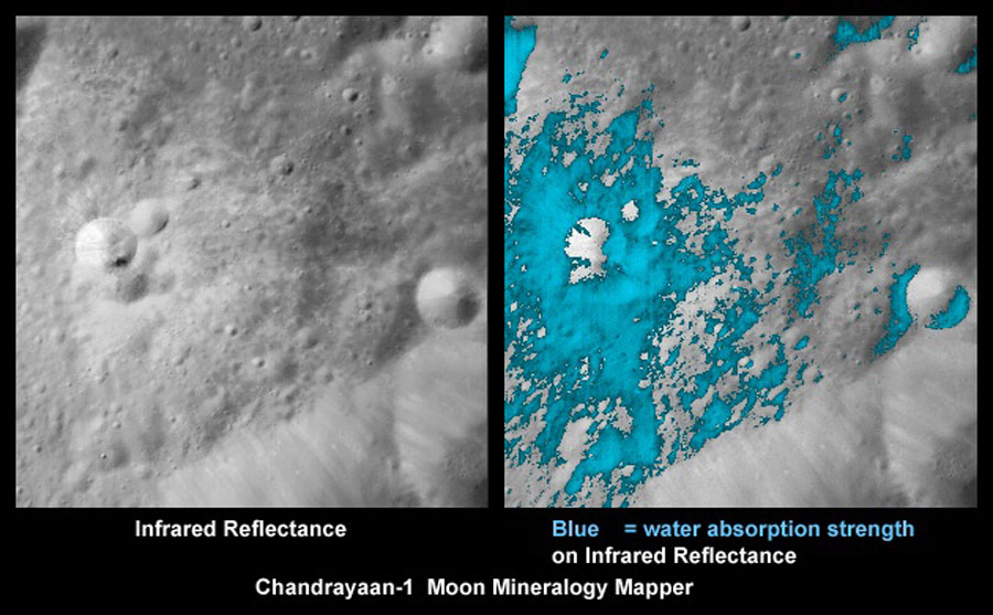 Descubierta agua en la Luna