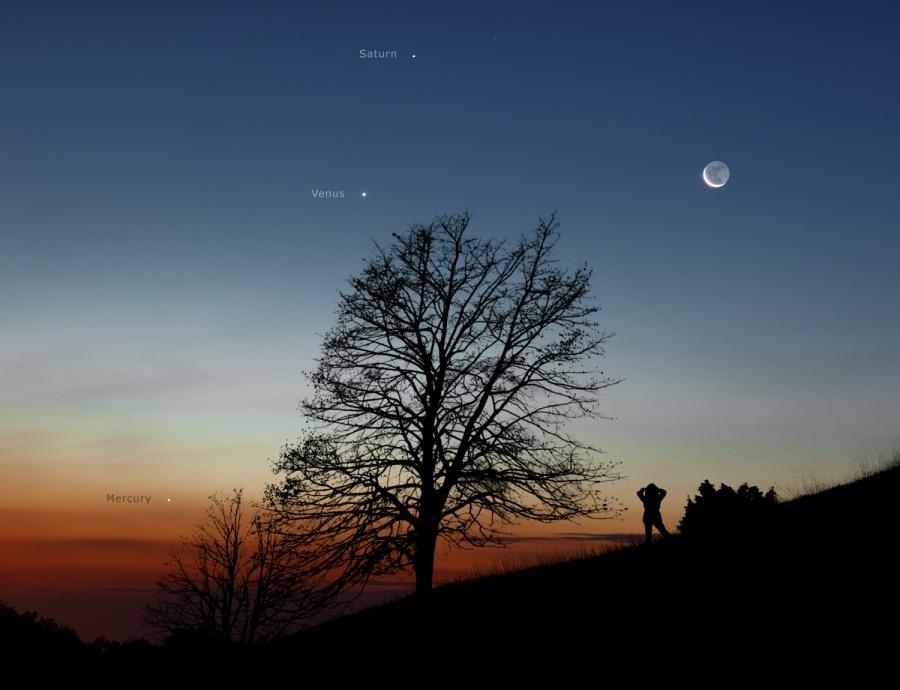 La Luna y los planetas por la mañana