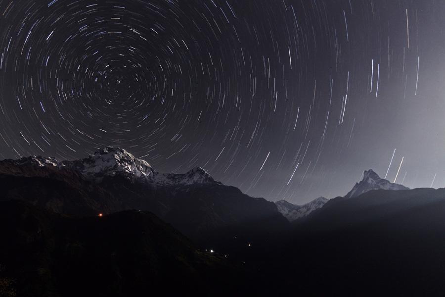 Trazas estelares en Annapurna