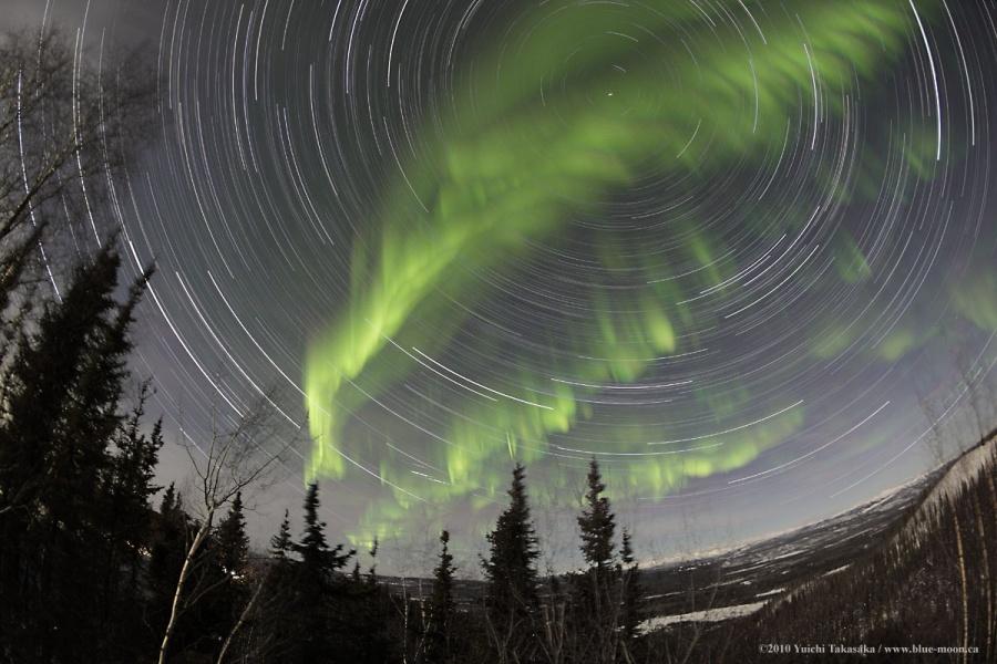Cực quang Yukon cùng những vệt sao
