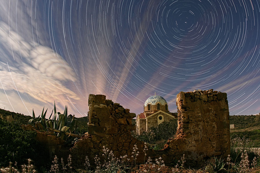 Nubes iluminadas sobre Grecia