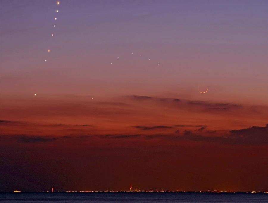 Venus, Mercurio y Luna