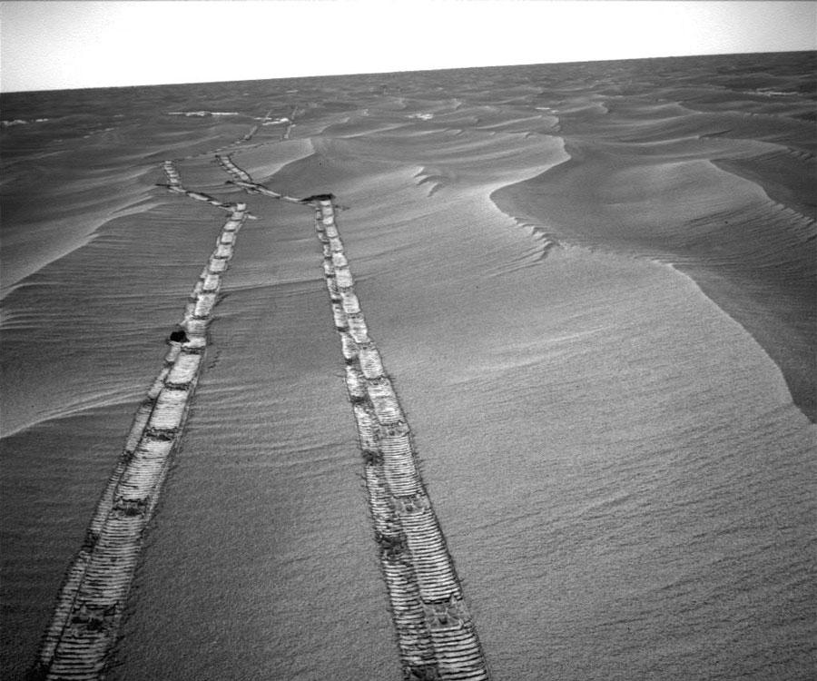 Mirando atrás cruzando Marte