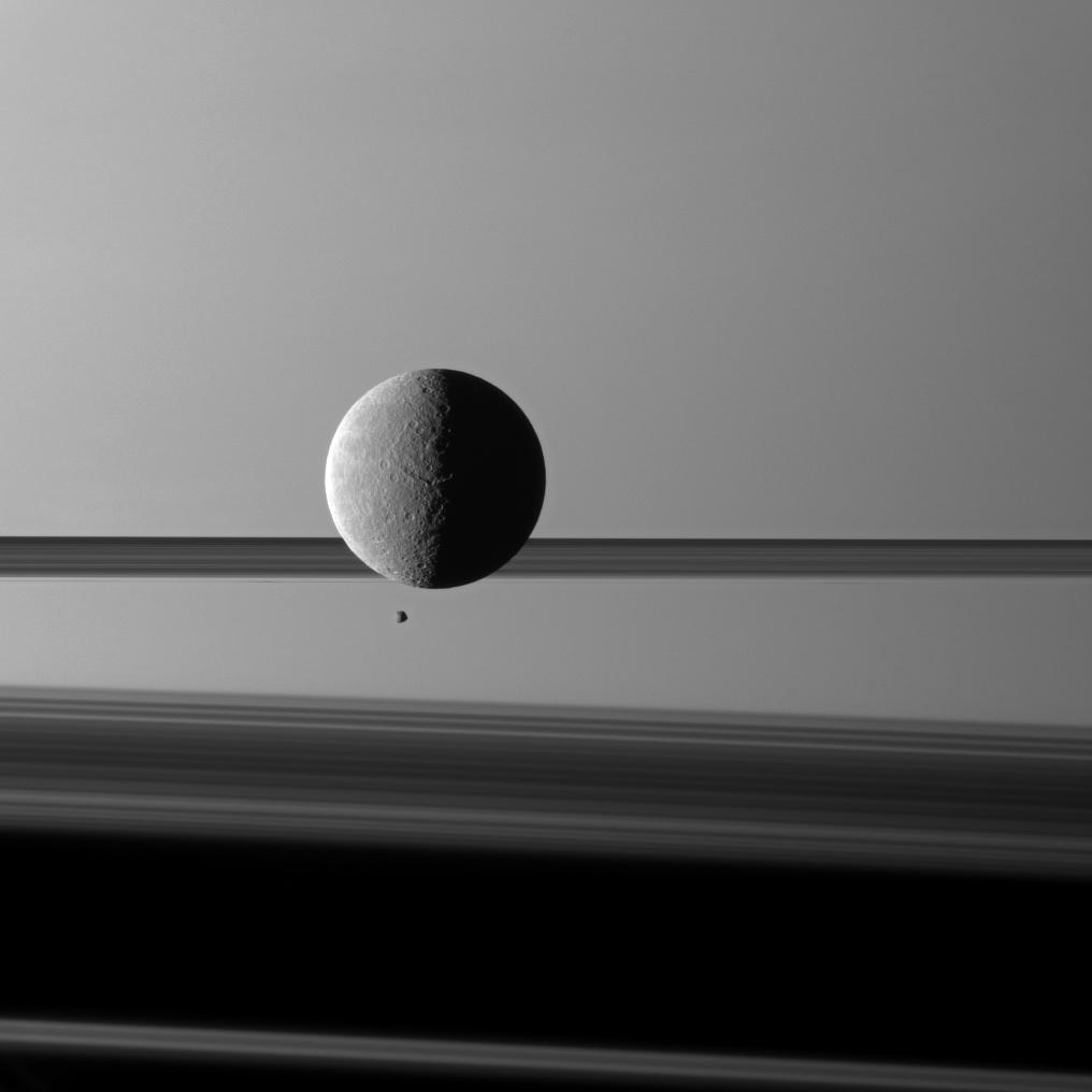 APOD: 2010 May 31 - Moons and Rings Before Saturn