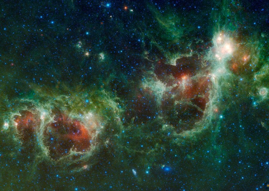 WISE: Nebulosas Corazón y Alma en Infrarrojo