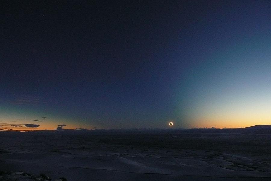 Cono de sombra del eclipse sobre la Patagonia