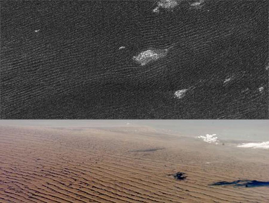 dune di sabbia su Titano