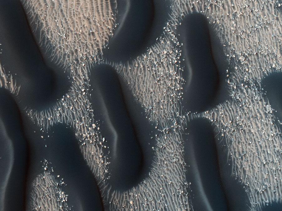 Un oscuro campo de dunas en el Cráter Proctor de Marte