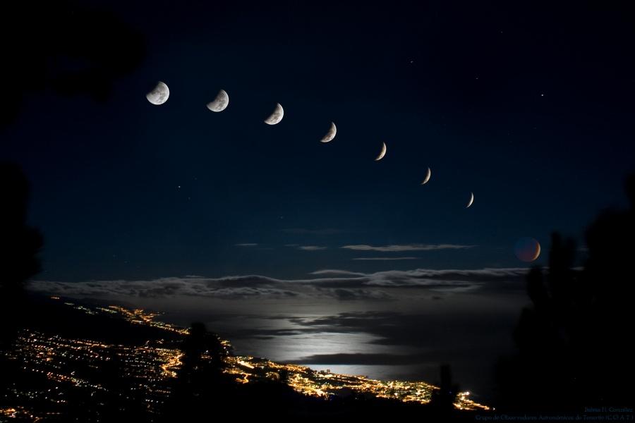 Eclipse en el ocaso lunar