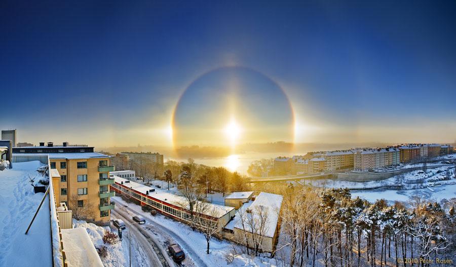 Ảnh: Mặt trời giả trên bầu trời Stockholm