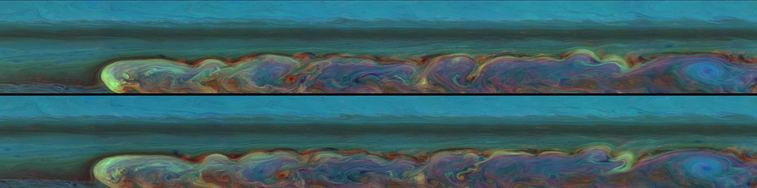 Panorámicas de la tormenta de Saturno