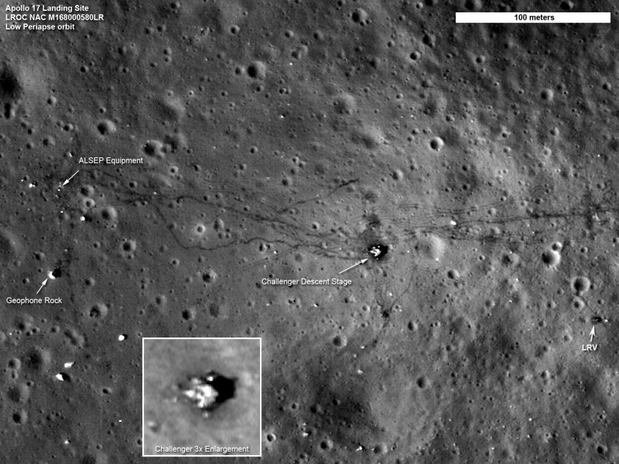 Una vista detallada del lugar del Apollo 17