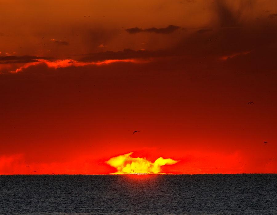 Una extraña puesta de Sol en Argentina