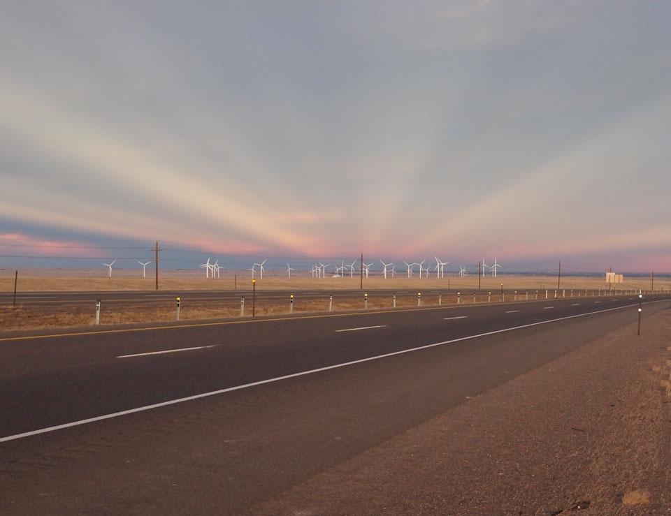 Rayos anticrepusculares sobre Wyoming