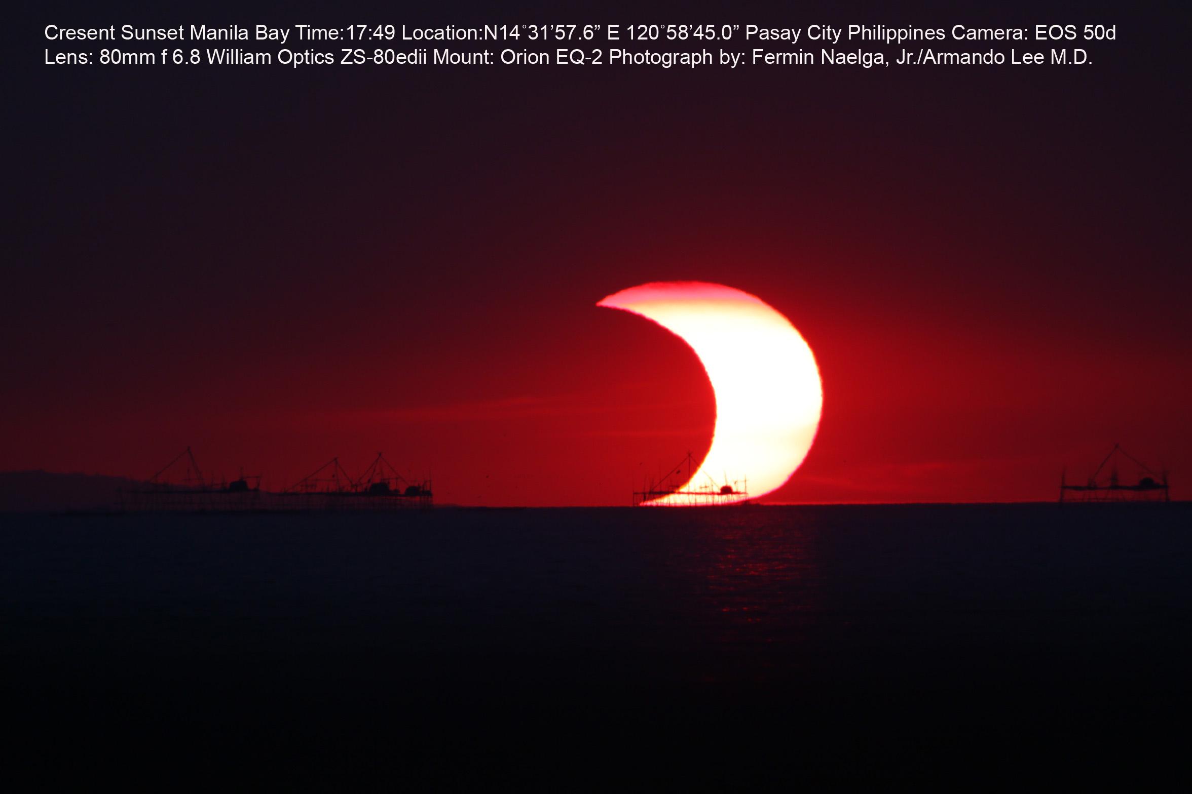 El Sofista Un eclipse parcial de Sol sobre la Baha de Manila