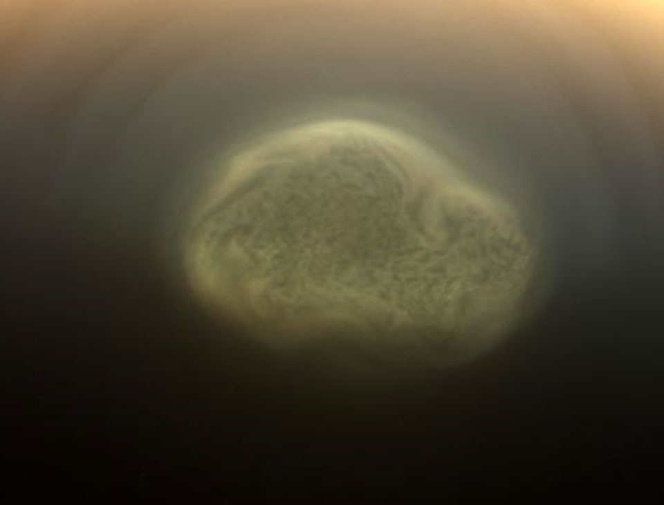 APOD: 2012 July 24 - South Polar Vortex Discovered on Titan