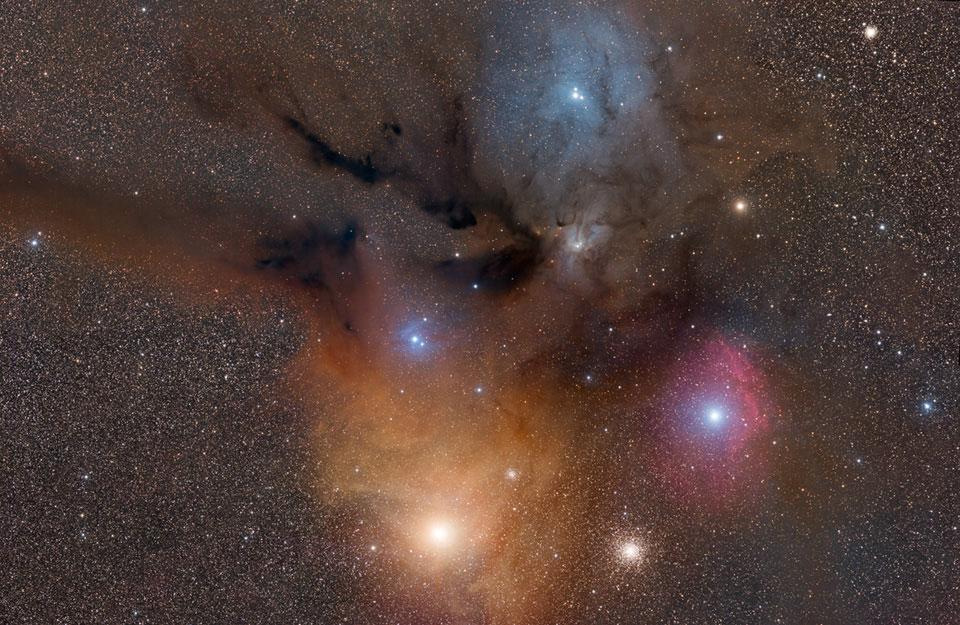 Nubes llenas de colores alrededor de Rho Ophiuchi
