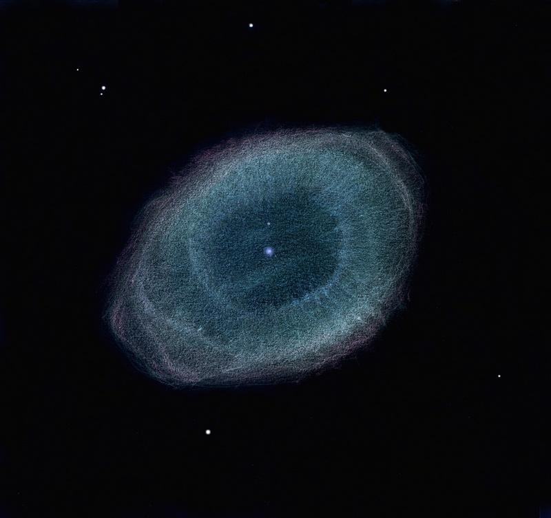 La nebulosa del Anillo dibujada