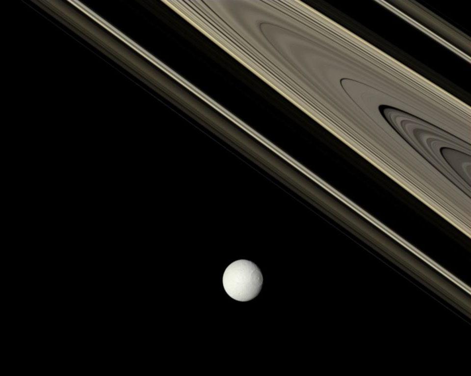 Saturno: el brillante Tethys y los antiguos anillos