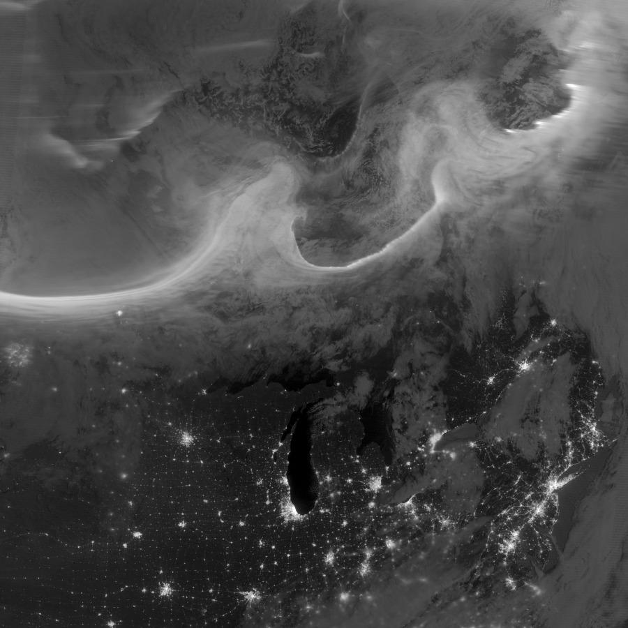 Auroras sobre el planeta Tierra
