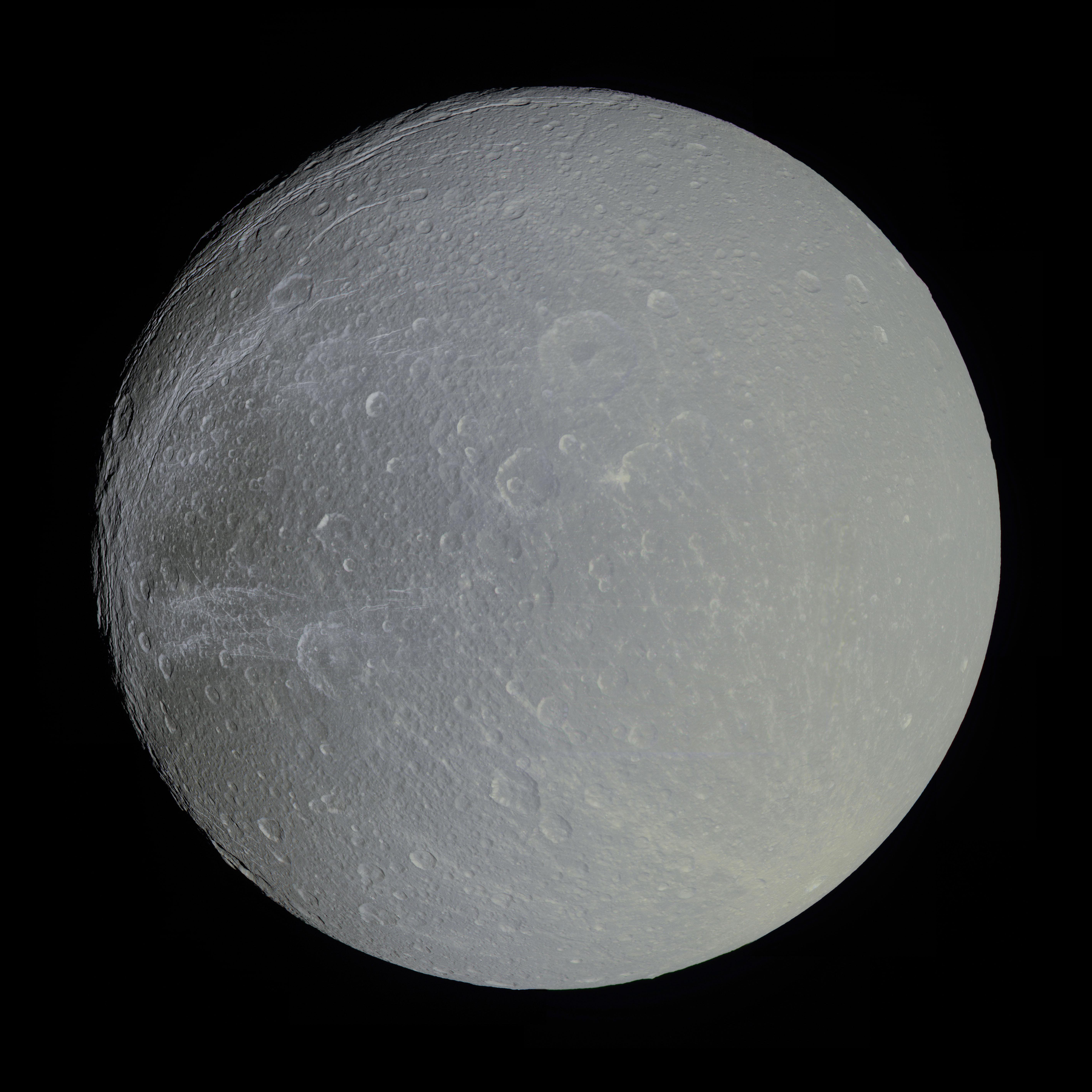 APOD: 2012 November 5 - Saturn's Moon Dione in Slight Color