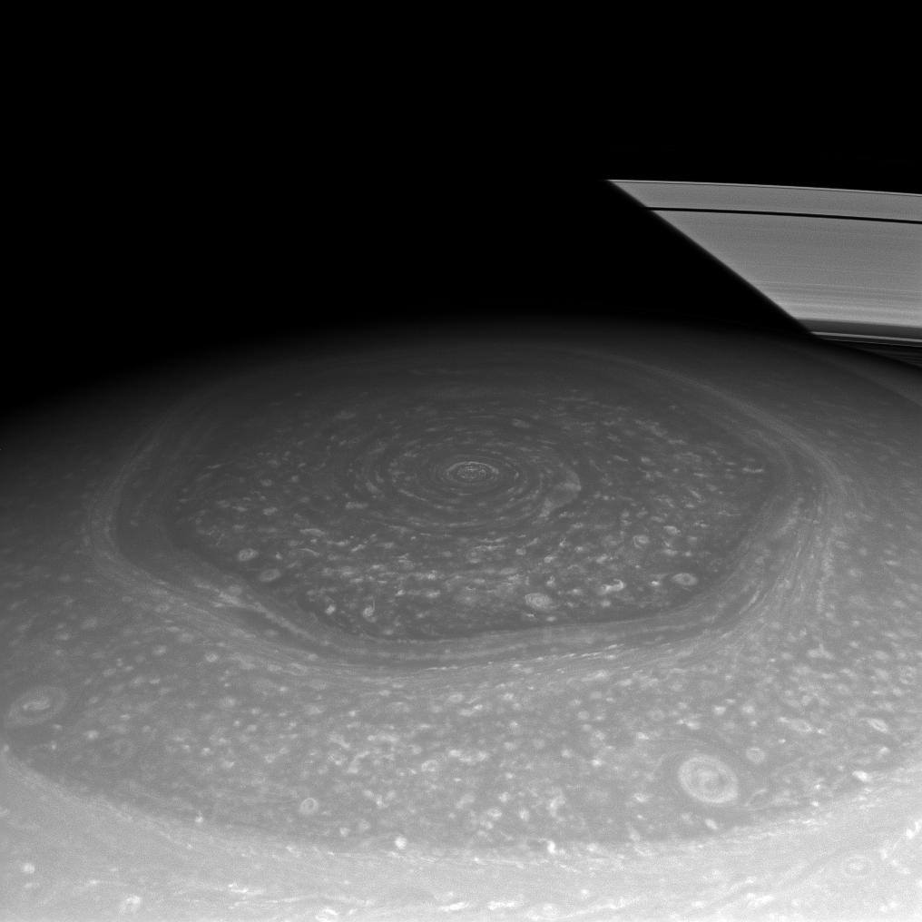 APOD: 2013 February 20 - Saturn's Hexagon and Rings